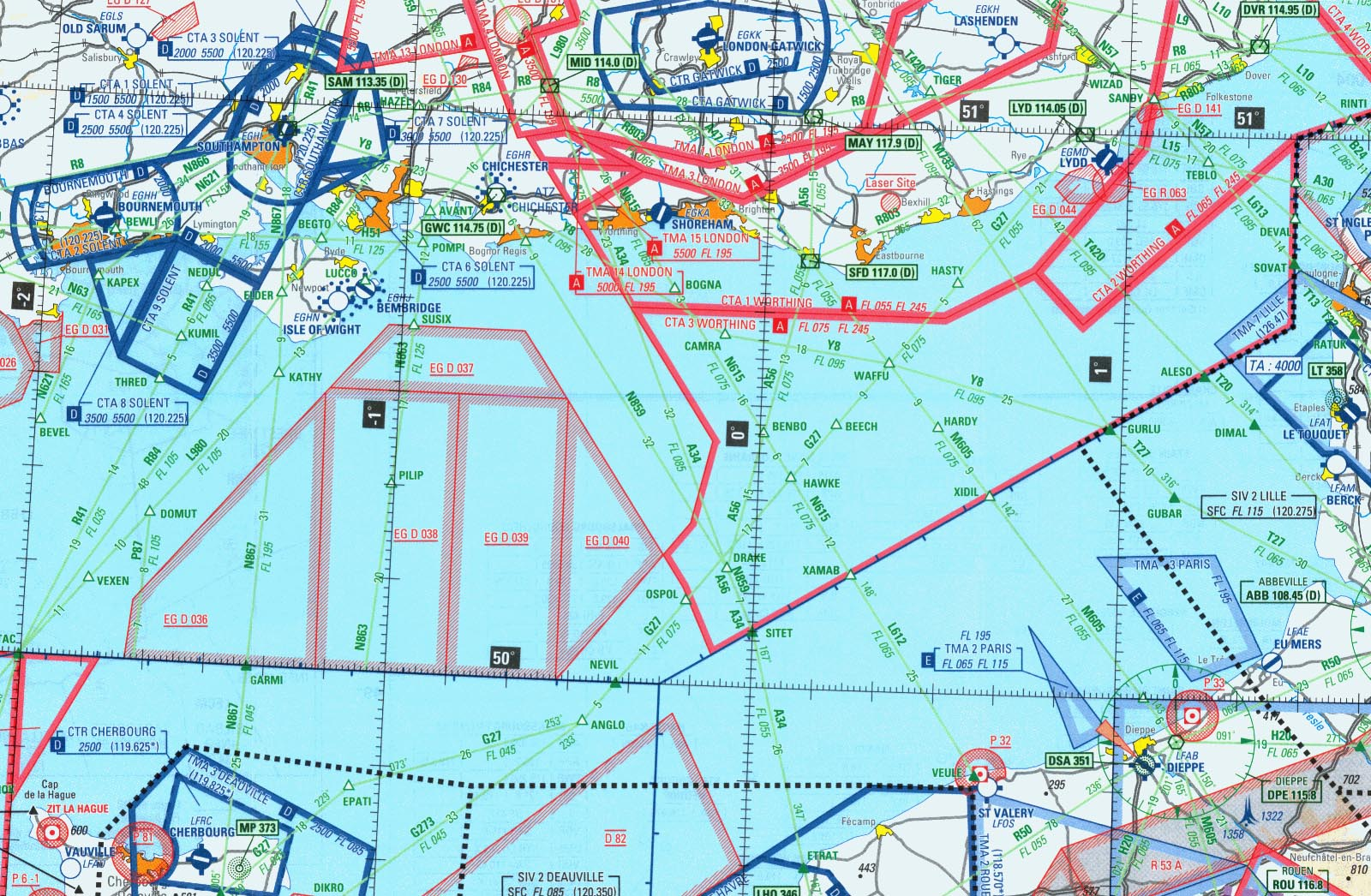 but require the use of a supplied booklet to work out vertical extents and operating hours of danger/restricted areas); the 1500k IGN charts